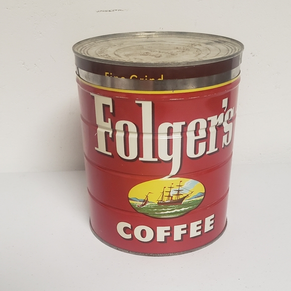 large vintage  FOLGERS COFFEE can